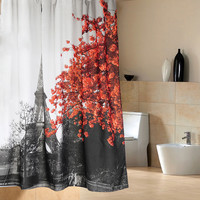 Eiffel Tower Flower Waterproof Shower Curtain Polyester Fabric Bath Bathing Bathroom Curtains with Hooks for Home Decorations