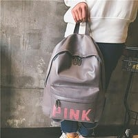 Pink Women Casual School Bag Cowhide Leather Backpack I