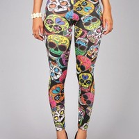 Day of the Dead Leggings | Printed Leggings at Pink Ice