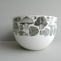 Finel Black and White Enamel Mushroom Bowl Made in Finland