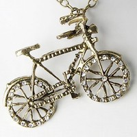 Vintage Inspire Gold Tone Cycle Bicycle Bike Crystal Rhinestone Pendant Necklace