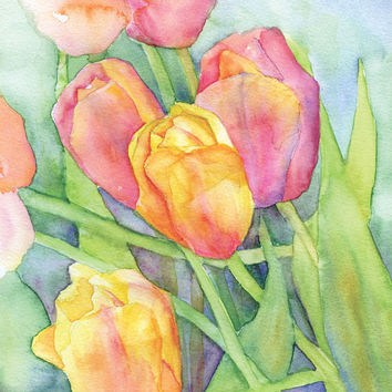 Tulips Watercolor Painting Giclee Print 8 x 10