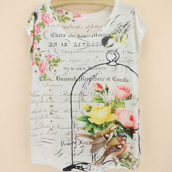 Summer Women's Fashion Floral Cage Plus Size Korean Short Sleeve T-shirts [6047437249]