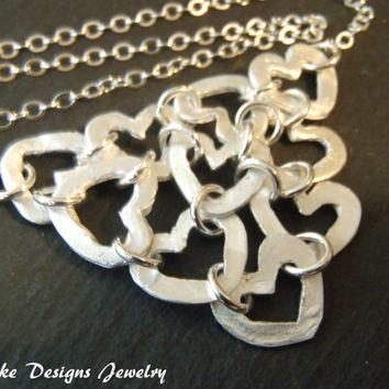 Silver statement necklace linked hearts sterling silver chain and .999 pure recycled fine silver pendant
