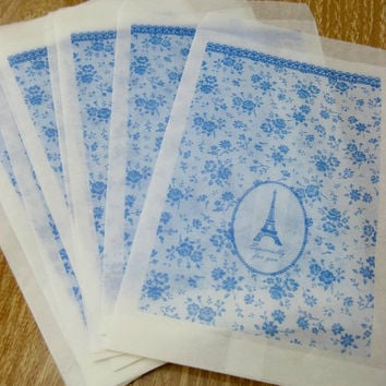 Glassine Gift Bags - Blue/Paris/Eiffel Tower - Set of 12