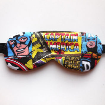 Captain America Eye Mask - Avengers Sleep Mask - Soft Dark Travel Eyemask - Small Adult Teen Boy Child Super Hero - Marvel Comics Book Print