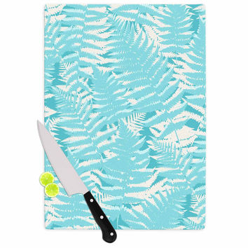 "Jacqueline Milton ""Fun Fern - Sky"" Blue Aqua Cutting Board"