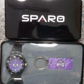 Sacramento Kings Spirit Style Watch and Keychain Gift Set NBA Basketball