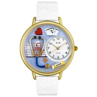 Whimsical Watches Unisex G0620013 Nurse White Leather Watch