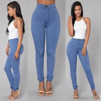 2018 Solid Wash Skinny Jeans Woman High Waist winter Denim Pants Plus Size Push Up Trousers Bodycon warm Pencil Pants Female