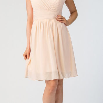 Starbox USA 6426 Pleated Bodice Knee Length Bridesmaid Dress Champagne