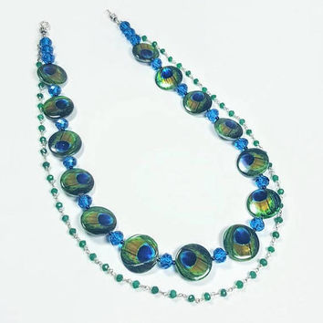 PEACOCK Designer Necklace ~ Handpainted Mother of Pearl Shells ~ Raw Emeralds ~ Blue Crystals