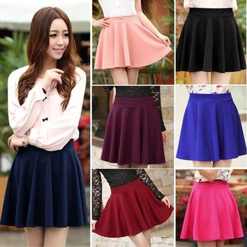 Women Candy Color Stretch Waist Plain Skater Flared Pleated Mini Skirt 15411 One Size = 1958373252