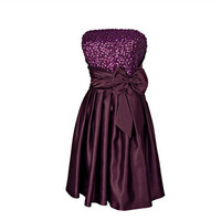 A-line Strapless Sleeveless Knee-length Satin Bridesmaid Dress With Sashes Paillette Beading Free Shipping