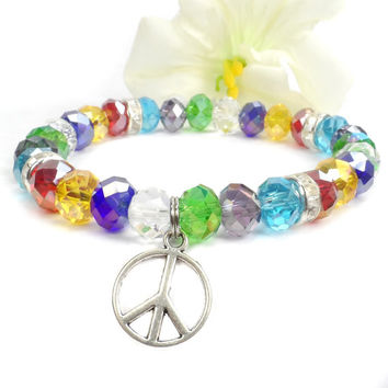 Rainbow Color Peace Bracelet