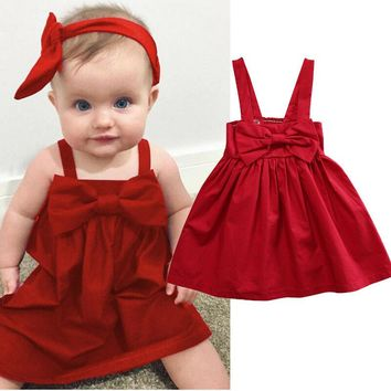 2018 Summer Newborn Baby Girls Red Sundress Bowknot Short Dress Outfit Dresses E