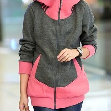 Winter Women Casual Hooded Zipper Flannel Hoodies Coat (for Choose:4 Color 5 Size) = 1920344004
