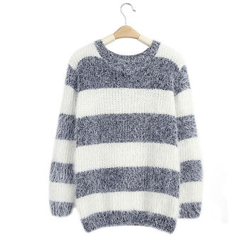 Horizontal Stripes Collarless Fuzzy Sweater