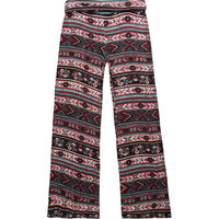 Full Tilt Girls Fold-Over Palazzo Pants Red/Black  In Sizes