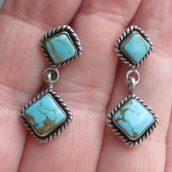Signed Q.T. Quoc Turquoise Inc. Southwestern Sterling Silver Turquoise Vintage Dangle Pierced Earrings