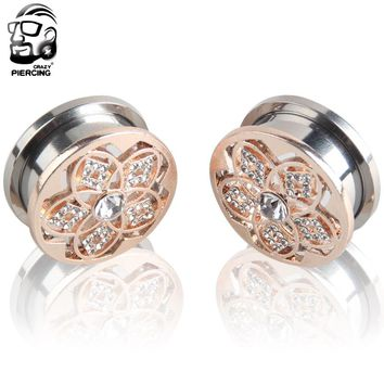 Rose Gold Flower Piercing Romantic Crystal Body 316L Stainless Steel Ear Gauge Plug Flesh Tunnel Ear  Expander