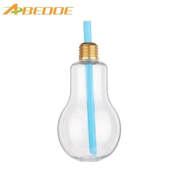ABEDOE Light Bulb Water Bottle Cute Travel Outdoor Juice Milky Tea Transparent Bottle with Colorful Straw New Arrival Fashion