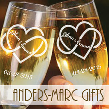 Bride Groom Infinity Heart Toasting Flutes Personalized * Wedding, Bridal Shower or Anniversary Gift Pair of Champagne Glasses*