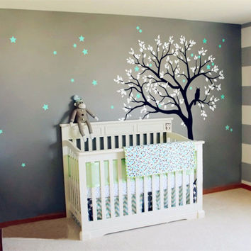 Baby Nursery Tree Wall Decal Vinyl Sticker Owls On The Tree With Star Wall Sticke Tree Wall Decal For Kids Bedroom Decor D-70