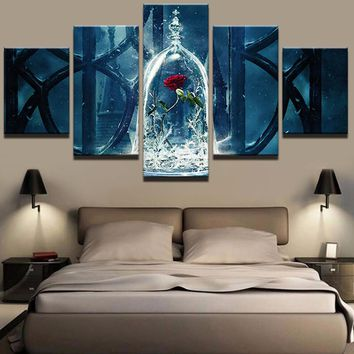 Canvas Wall Art Modern Painting Poster Home Decor 5 Panel Beauty And The Beast For Living Room HD Print Modular Pictures Frame