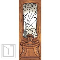 AN-2014-1 Mahogany Hand Carved French Art Nouveau Forged Iron Glass Single Door