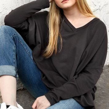 V-Neck Boxy Pullover - Pavement by Cut Loose