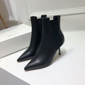 Kuyou Gx39930 Celine Women Casual Shoes Sharp Boot With Elasticated Sides And Stiletto Heel In Calfskin