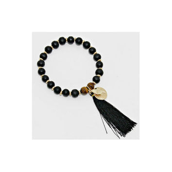 Black & Gold Disc Tassel Charm Wood Bead Stretch Bracelet, gift