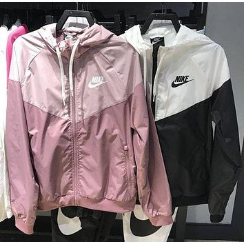 NIKE Fashion Women Casual Printed Hooded Zipper Cardigan Jacket Windbreaker