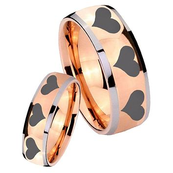 His Hers Rose Gold Dome Multiple Heart Two Tone Tungsten Wedding Rings Set