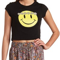 Daisy-Crowned Smiley Face Graphic Crop Top