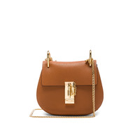 Chloe Mini Grained Leather Drew Bag in Caramel | FWRD