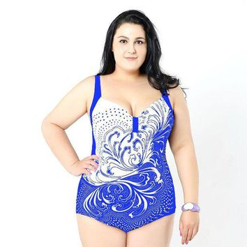 LMF78W XL-5XL plus size One-Piece swimsuit women Cheap hot dotted ladies Suits sport swimwear female sexy watch one piece bathing suit