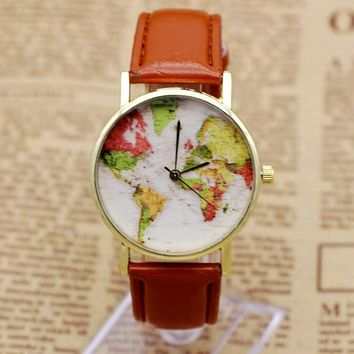 World Map Watch - Women Casual Leather Wristwatch
