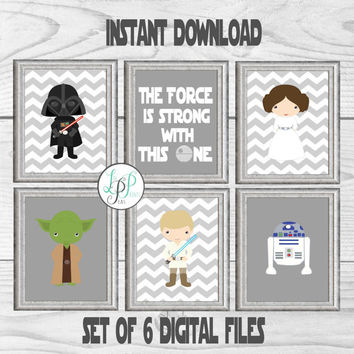 Star Wars Nursery Set, Star Wars Prints, Star Wars Character Wall Art, Baby Star Wars Decor, Star Wars Gallery Wall, Star Wars Printable