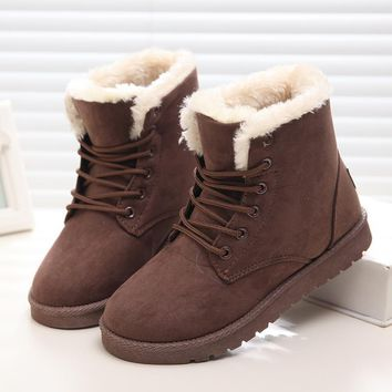 New Warm Winter Boots For Women Ankle Boots Snow Girls Boots Female Shoes Suede with P