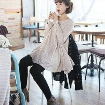2013 maternity dresses casual o-neck loose plus size big size long sleeve clothing skirt lace one-piece dress for pregnant women = 1946744900