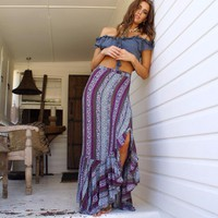 Chic boho hippie wrap long skirt with ruffle bottom