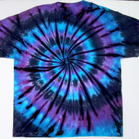 Tie Dye Shirt/ Adult XL/ Moon Shadow Spiral/ Blue Purple Black
