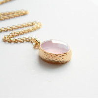 Light Pink Glass Stone Pendant on 24 inch Matte Gold Chain