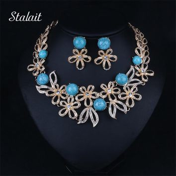 Fashion Color Turquesa  Hollow Flower Crystal Rhinestone Stone Statement Collars Chunky Necklace Earring Jewelry Set For Women