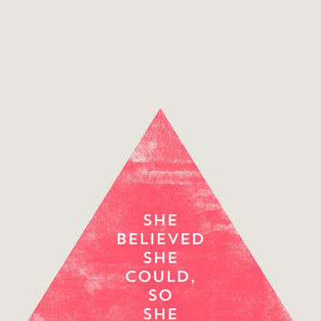 SHE BELIEVED SHE COULD SO SHE DID - TRIANGLE Stretched Canvas by Allyson Johnson