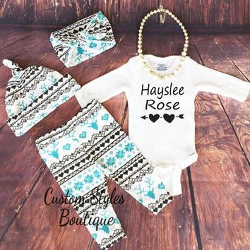 Baby Girl Coming Home Outfit,Customized Name,Turquoise Blue Deer, Leggings, Hat and Headband ,Country Outfit, Baby leggings