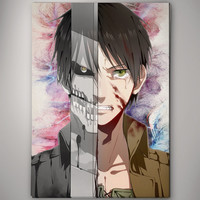 Eren Attack on Titan Anime Shingeki no Kyojin Watercolor Print Poster 11.70 x 16.50 A3 No586