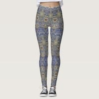 Elegant lace pattern in noble colors-Art Nouveau Leggings